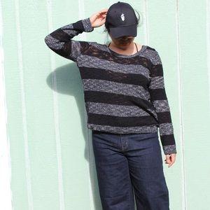 H&M Striped Black/Grey Sweater | Large